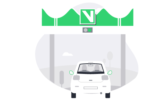 Drive through the lanes marked with the Via Verde symbol